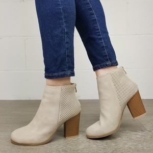 Beige Perforated Design Heel Ankle Booties -L